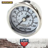 "Aeroflow White 0 - 100 PSI EFI Fuel or Oil Pressure Gauge 1.5"" 38mm 1/8"" NPT"