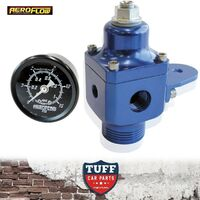Aeroflow Blue Billet 2 Port 750hp Carby Fuel Pressure Regulator + Gauge 4-12 PSI